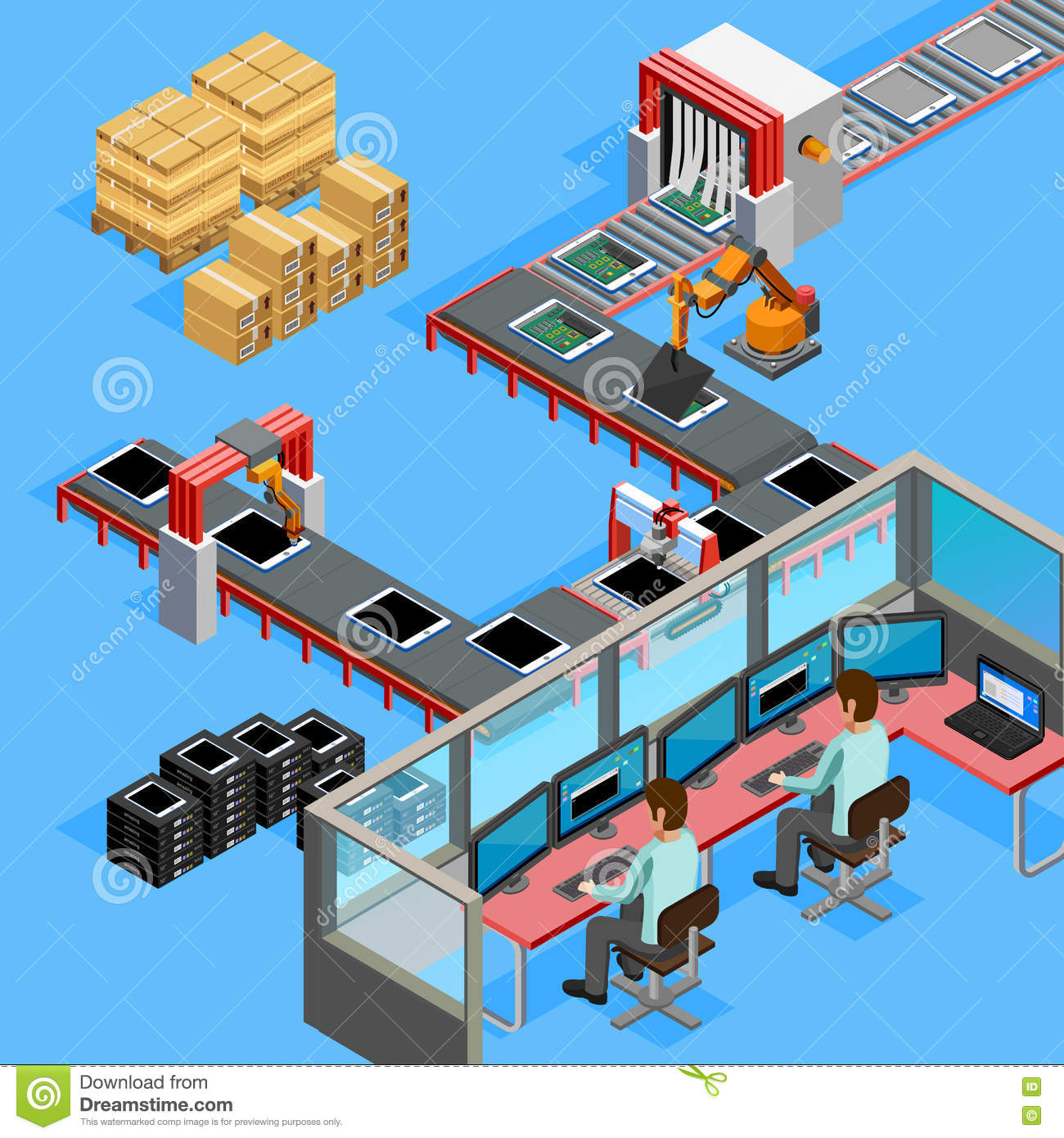 Drawing Lines In Processing : Conveyor manufacturing line operators isometric poster