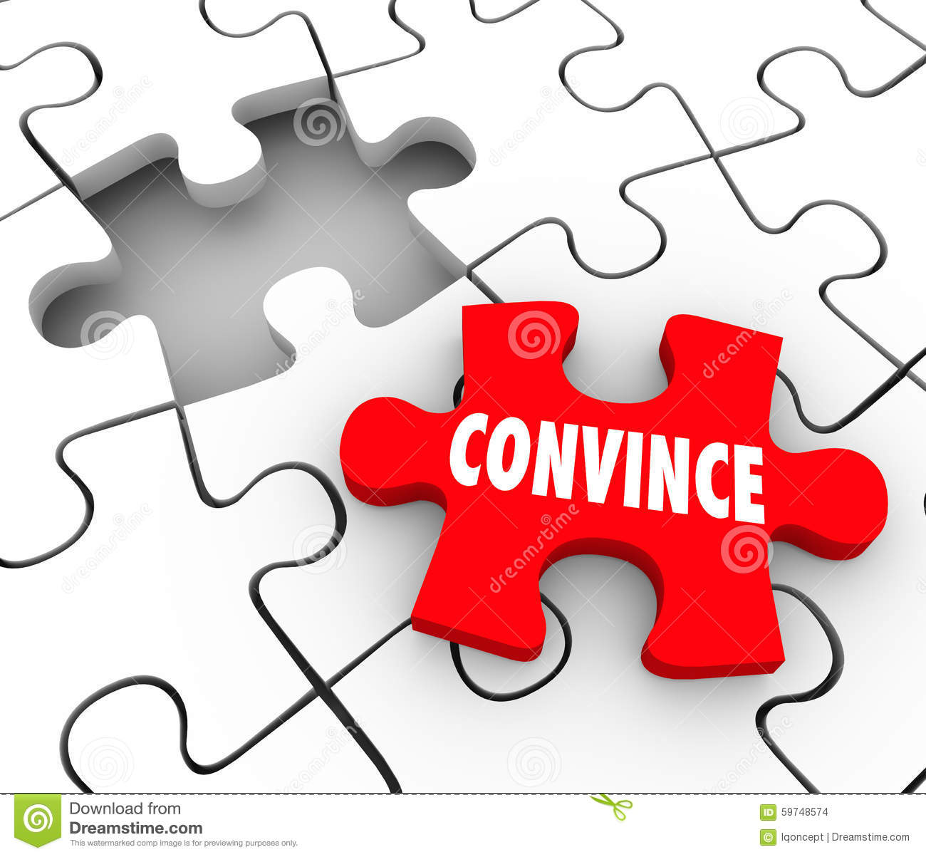 Convince Puzzle Piece Sway Persuade Others Assure Win ... Convince Clipart