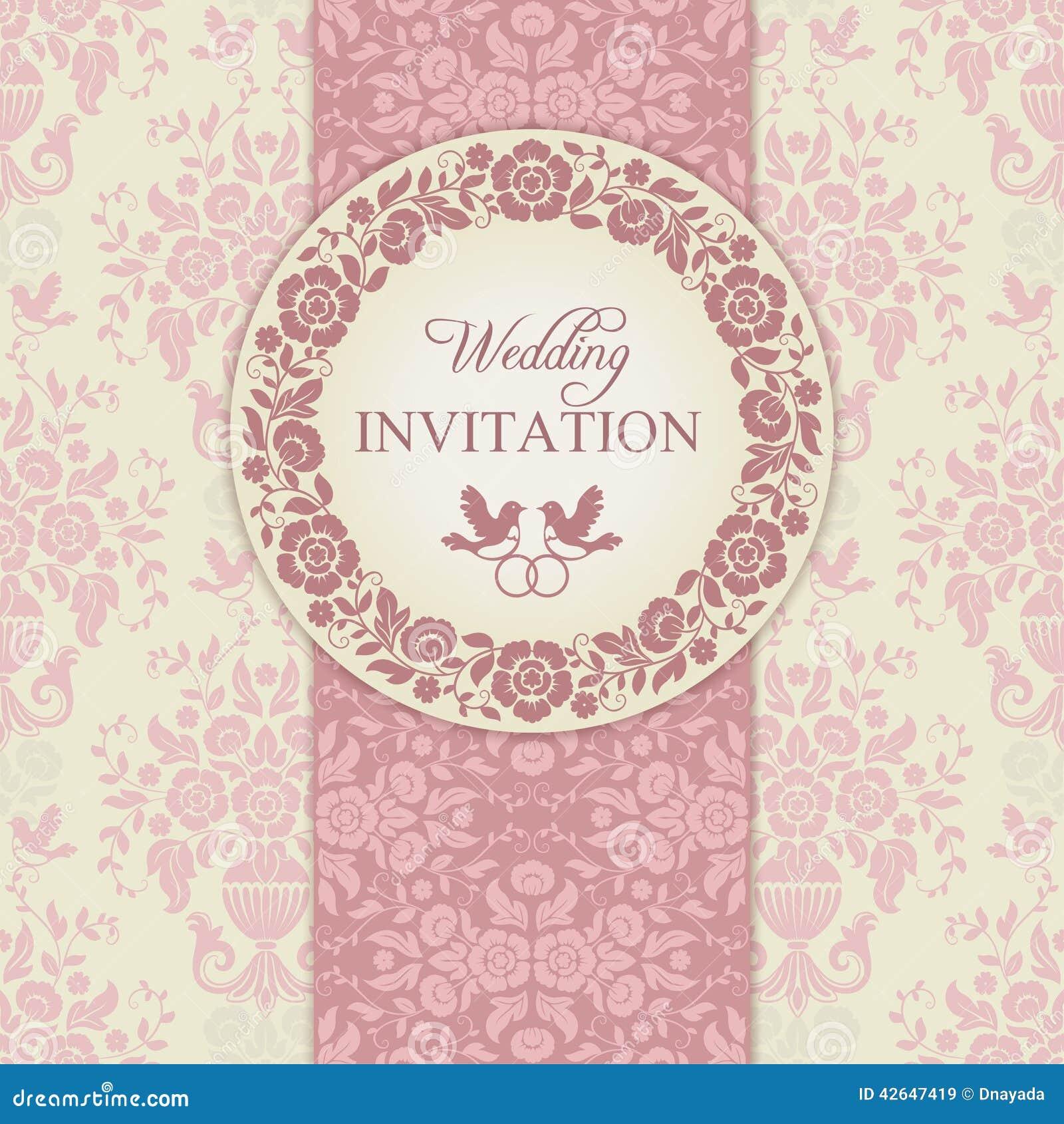Convite Barroco, Rosa E Bege Do Casamento Ilustração do ...