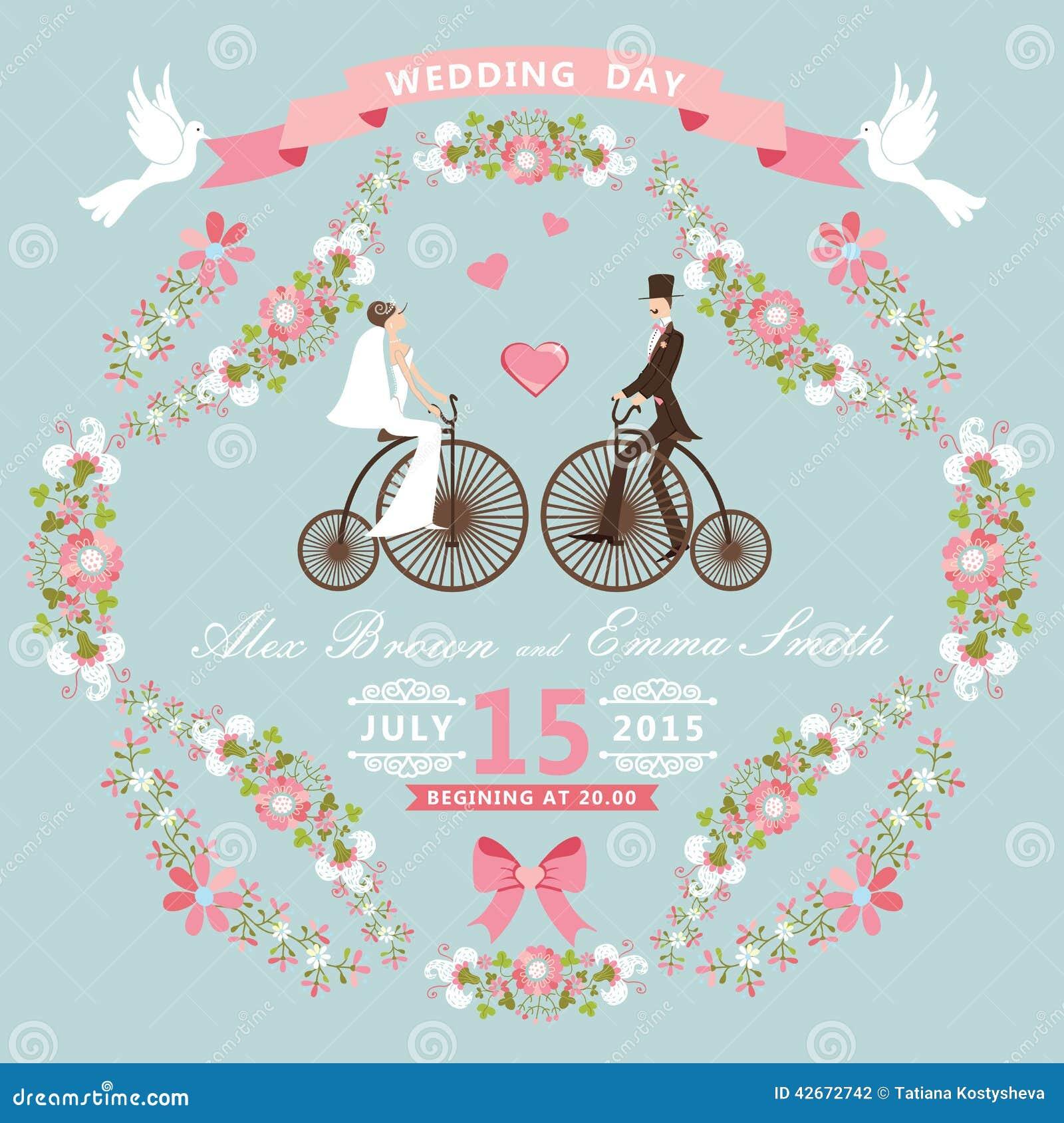 Convite do casamento do vintage Quadro floral, noiva, GR