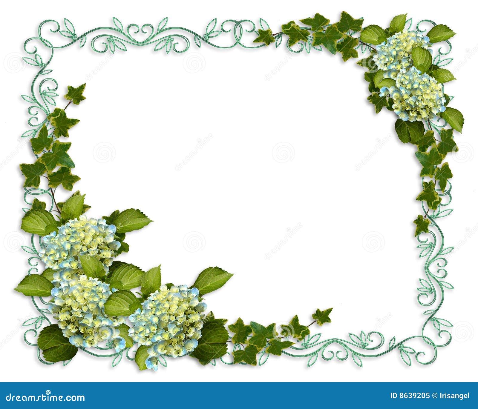 Convite floral da beira da hera e do Hydrangea