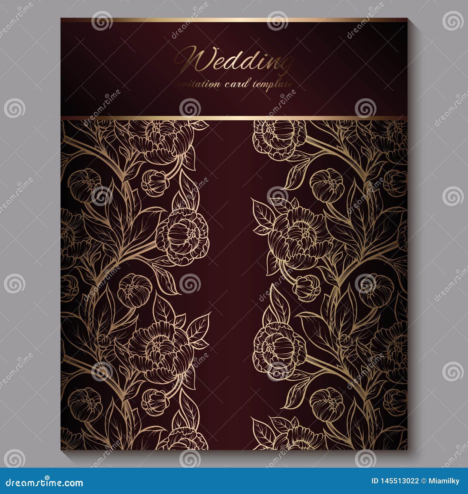 Convite luxuoso real vermelho excelente do casamento, fundo floral do ouro com quadro e lugar para o texto, folha la?ado feita da