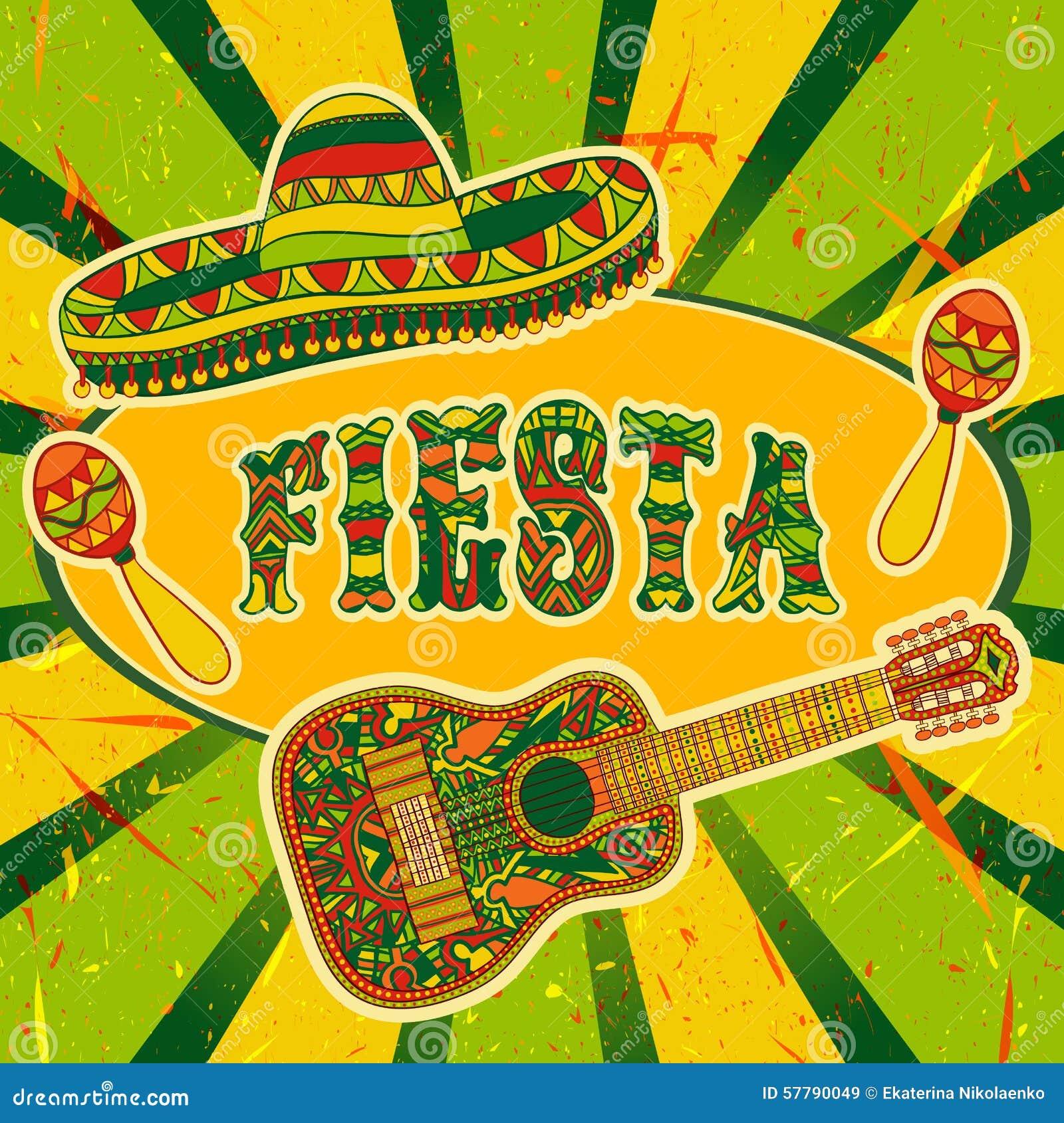 Convite mexicano do partido da festa com maracas, sombreiro e guitarra Cartaz tirado mão da ilustração do vetor
