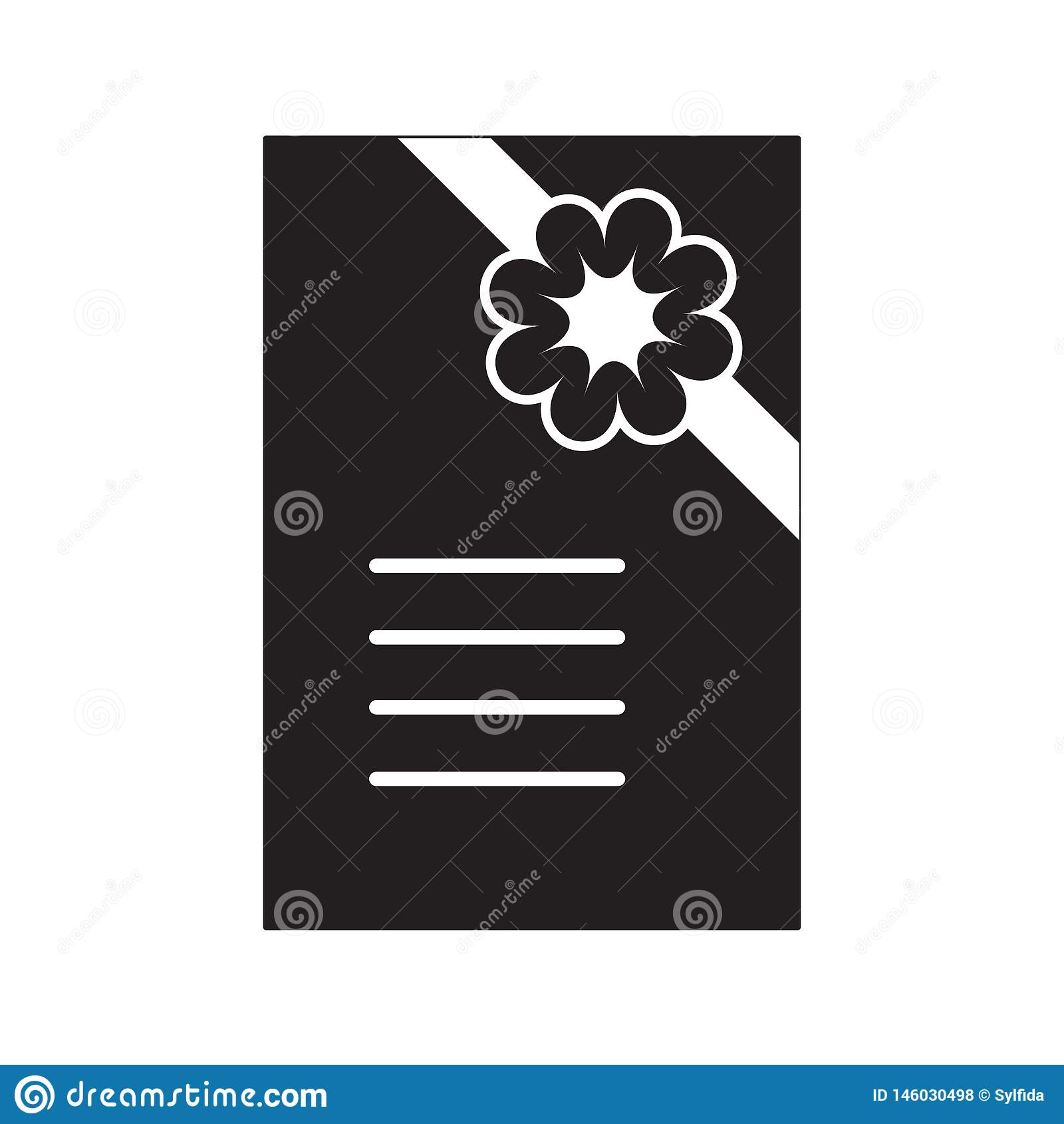 Convite preto e branco com flor e fita Vetor