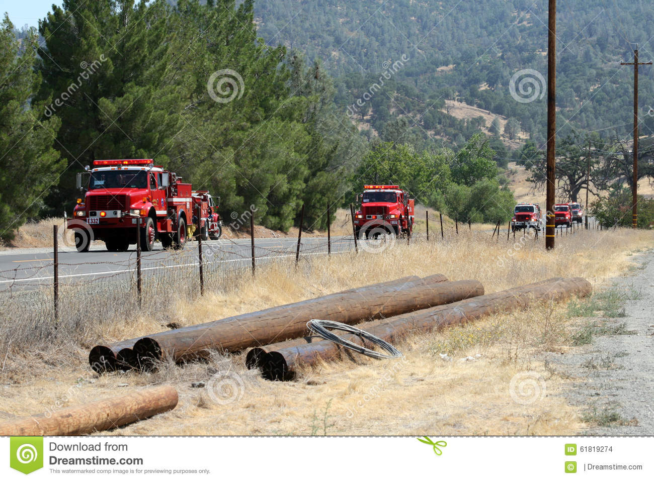 Convoy of fire engines heads to fire area
