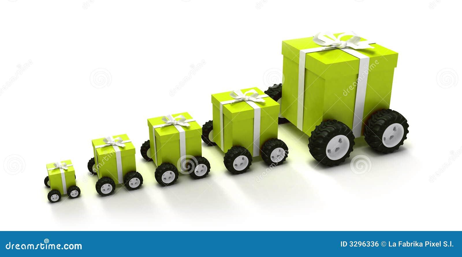 Convoy verde de los rectángulos de regalo