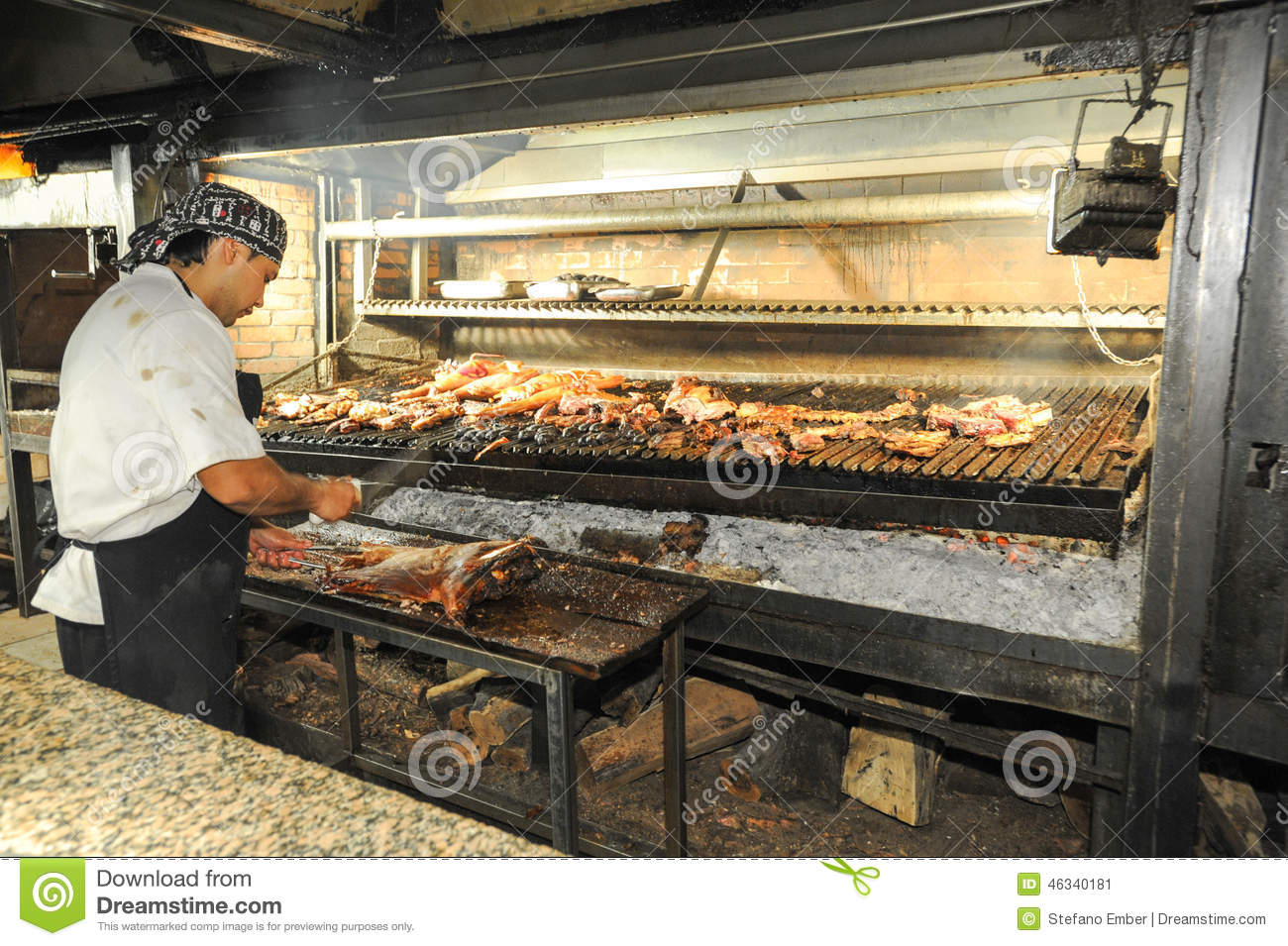Cook on the bbq grill at a restaurant of mendoza