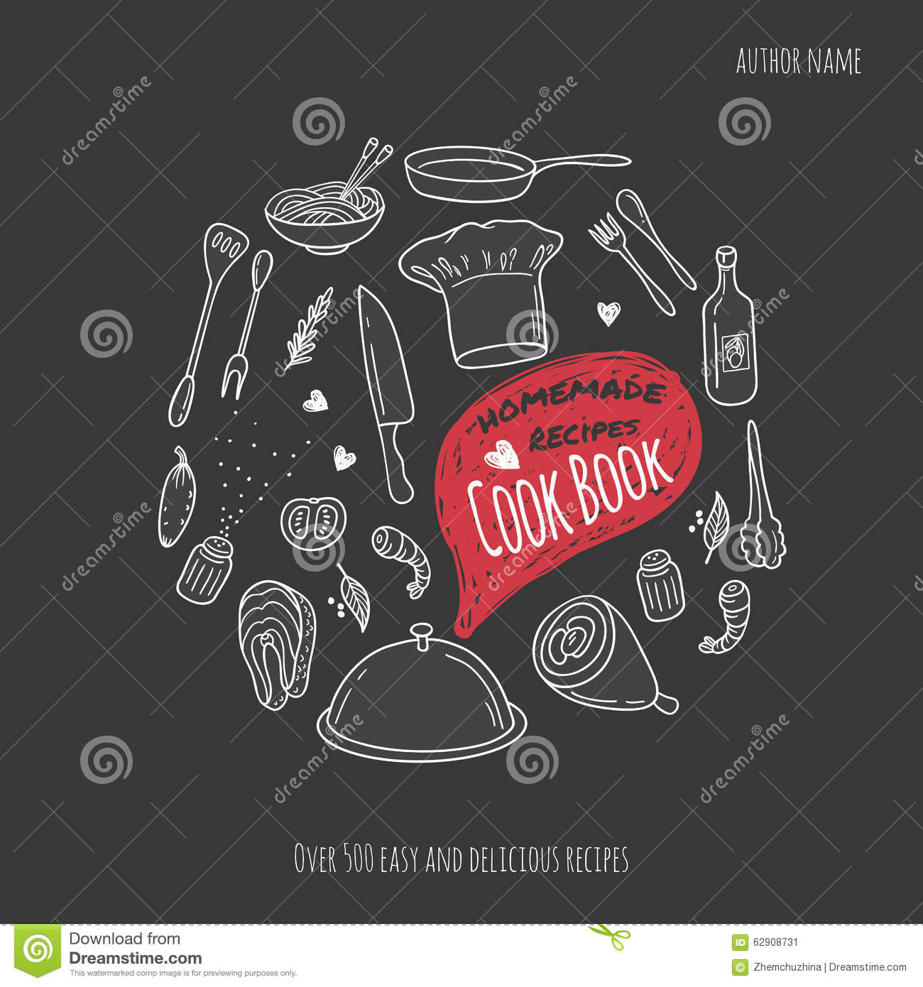 Food Book Cover Vector : Cook book cover with hand drawn food illustrations stock