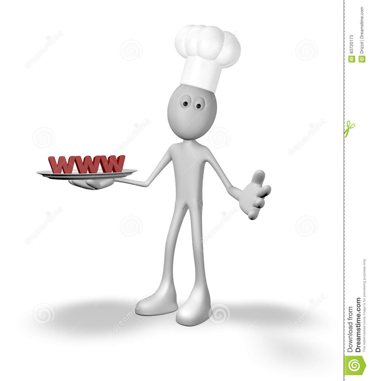 Cook Cartoon Guy With Www On Plate Stock Illustration