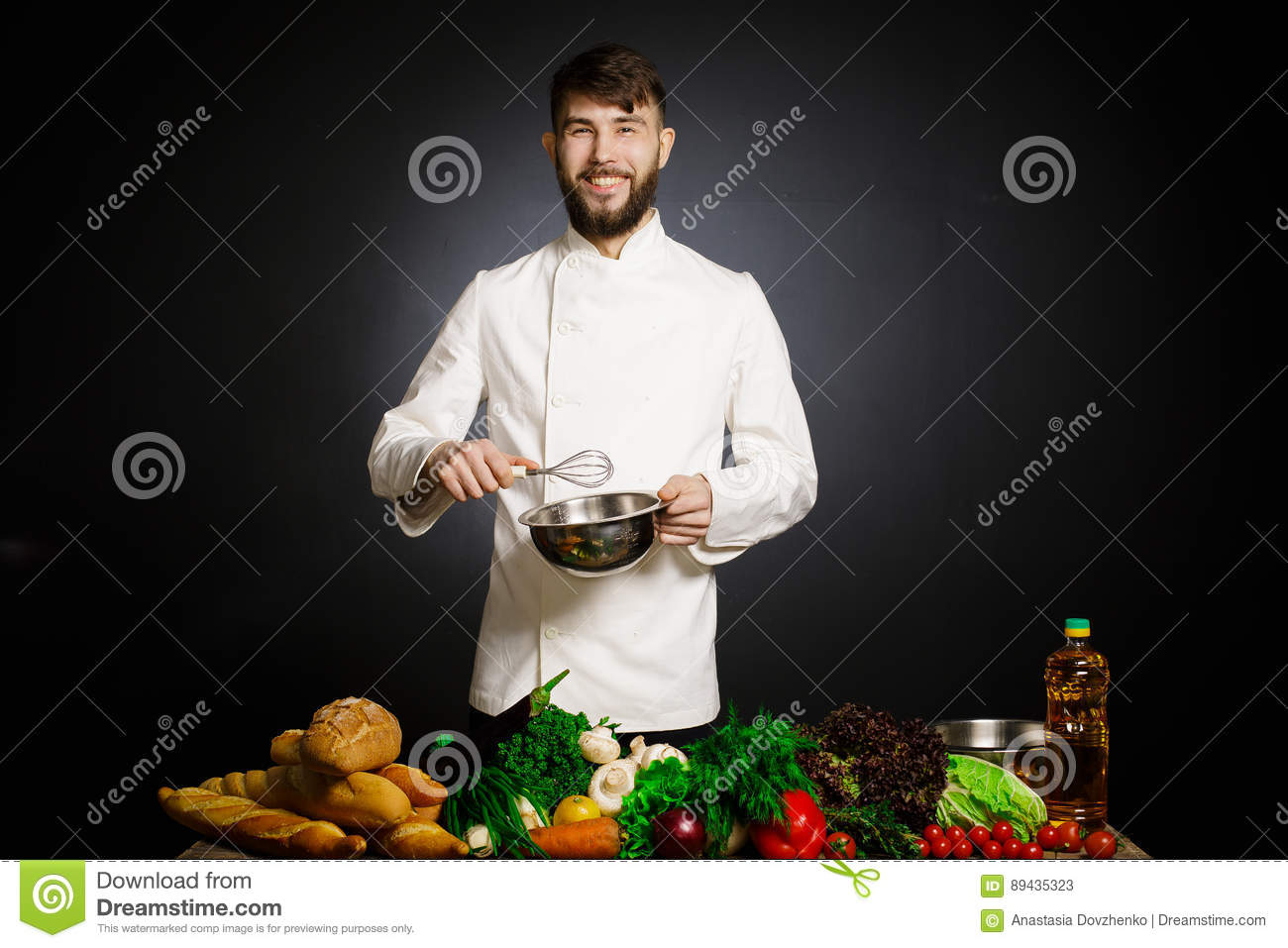 Cook chef with vegetables splah and black dark background. Food musical harmony. Chef juggling with vegetables and other food in t