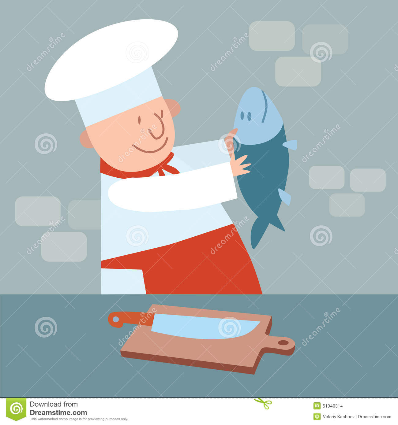 Cook Cut Up Fresh Fish Chef In Kitchen Stock Illustration
