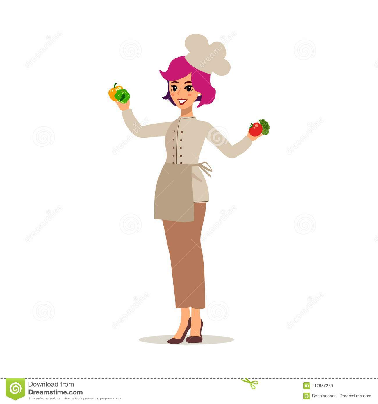 Cook female character vector design. Animate personage. Set of fun cartoon person. Isolated on white background.