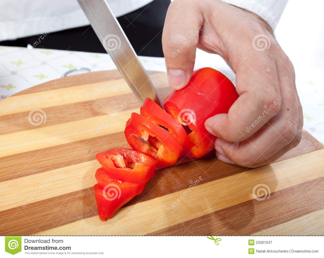 Cook Hand With Knife Cutting Vegetable Royalty Free Stock ...