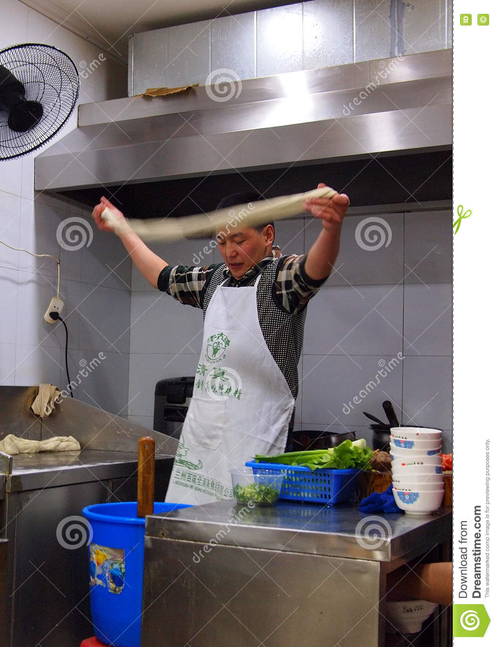 Hand Pulled Noodles In Chinese Restaurant Kitchen Editorial Stock ...