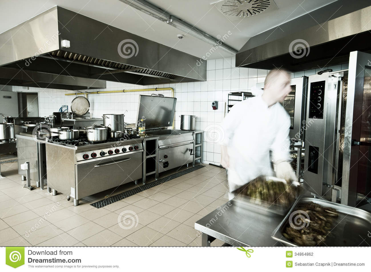 Cook In Industrial Kitchen Stock Photo Image Of Feed 34864862