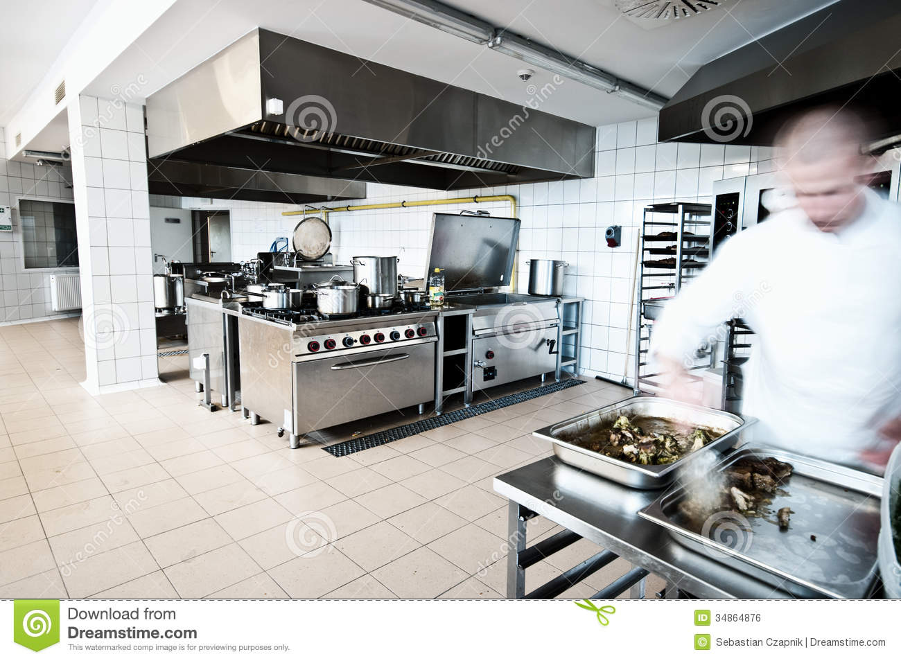 Cook In Industrial Kitchen Stock Photo Image Of Restaurant 34864876