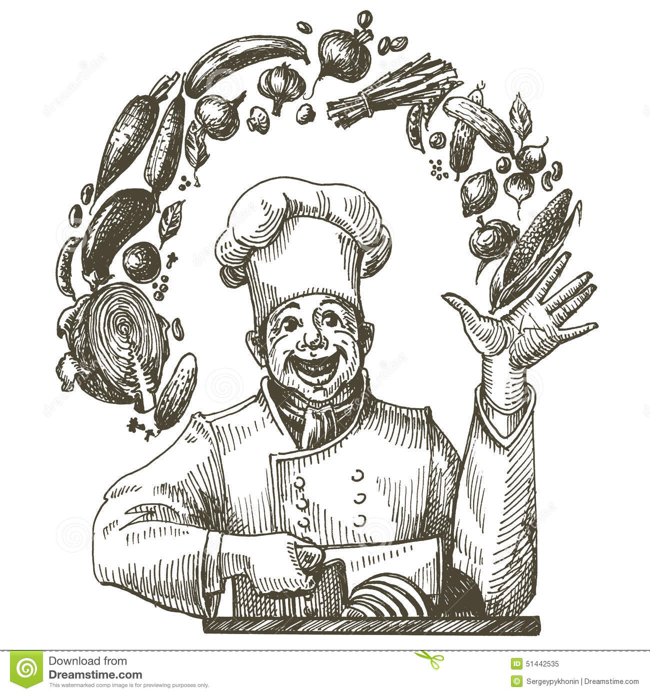 Dream Kitchen Design Drawing: Cook In The Kitchen On A White Background. Sketch Stock