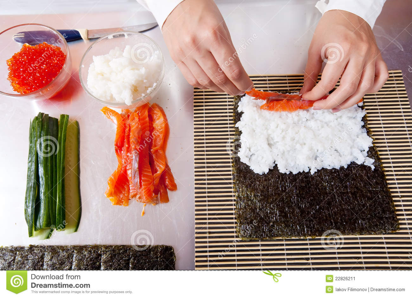 Making Sushi Rolls Stock Image Cartoondealer Com 17435977