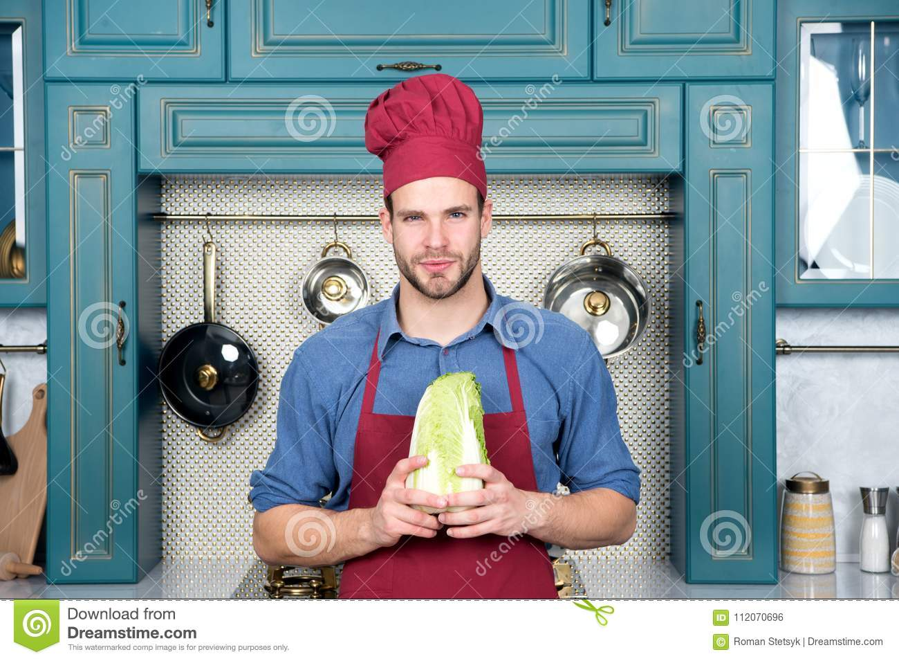 Cook Man Hold Chinese Cabbage In Kitchen Stock Photo - Image of ...