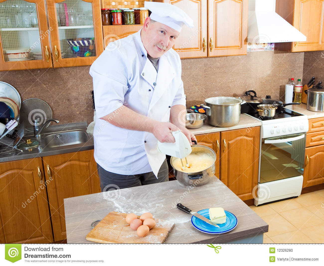Royalty Free Stock Photo. Download Cook Man In Kitchen ...