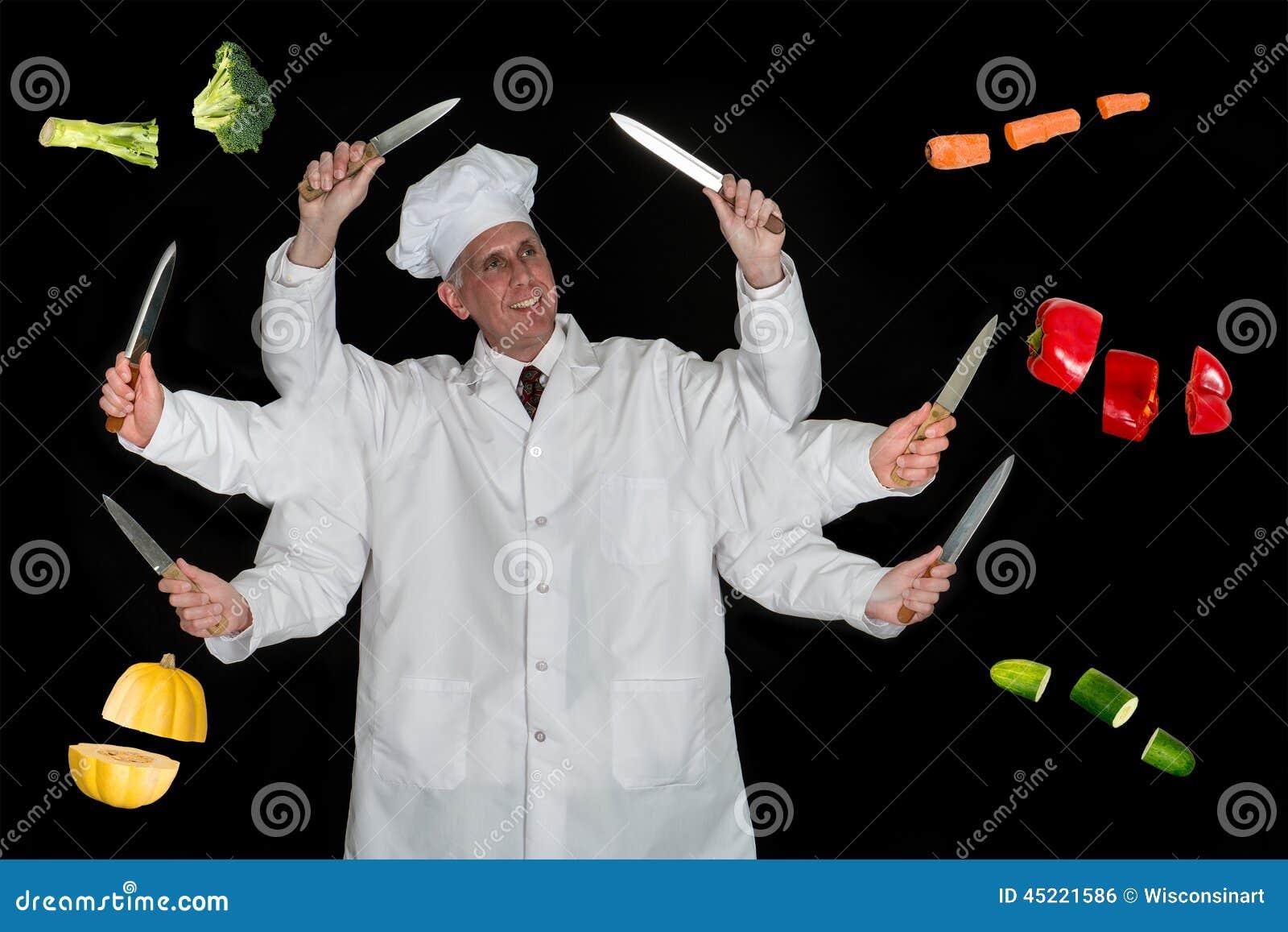Cook, szefa kuchni narządzanie jedzenie, i Veggies
