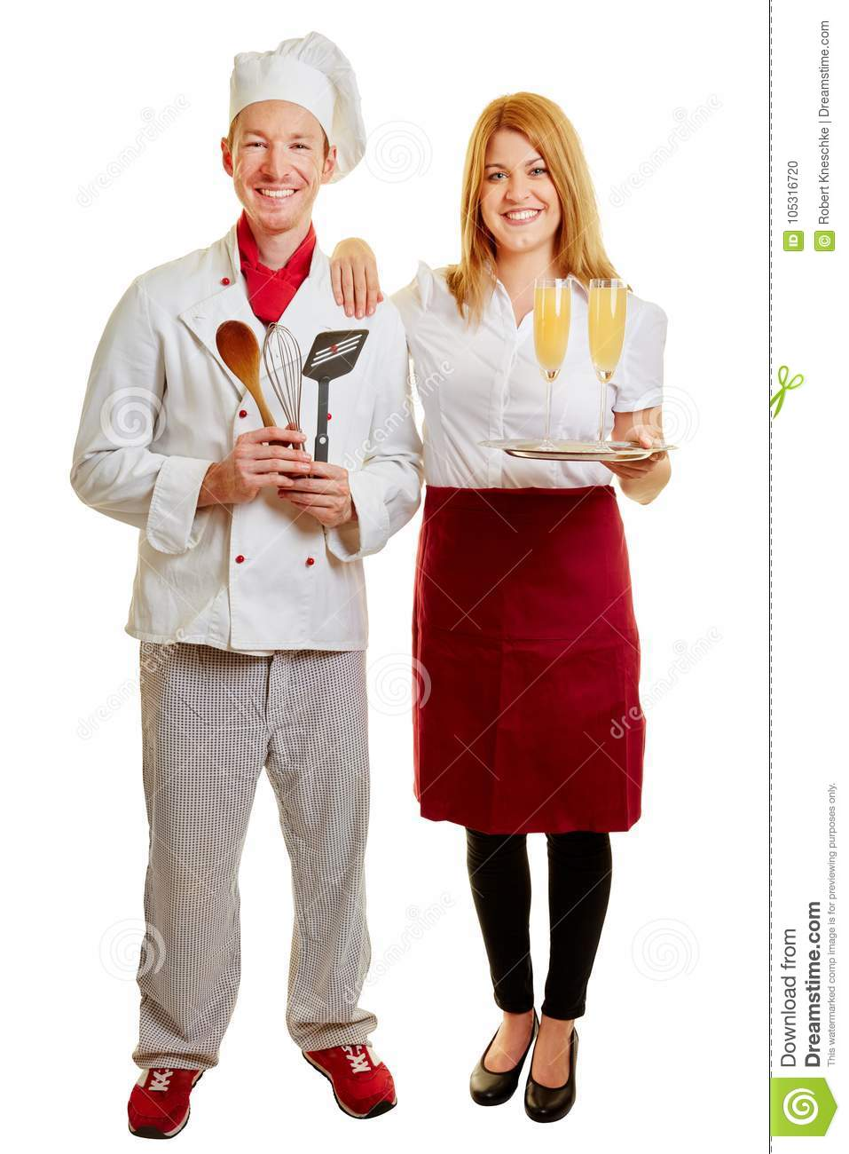 Cook and waitress together as a team