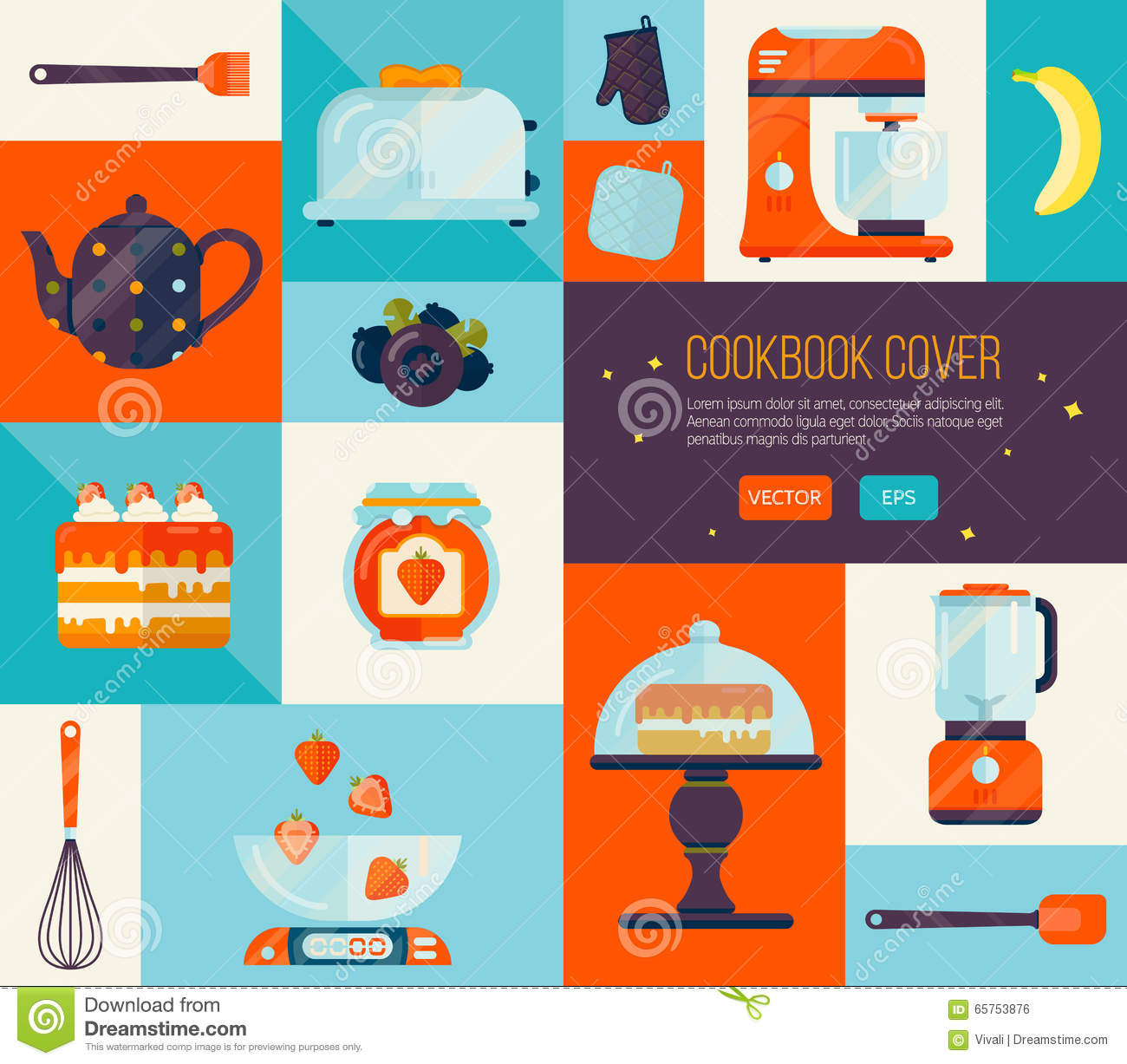 Cookbook Cover Vector : Cookbook cover in bright colors big vector cook icons set