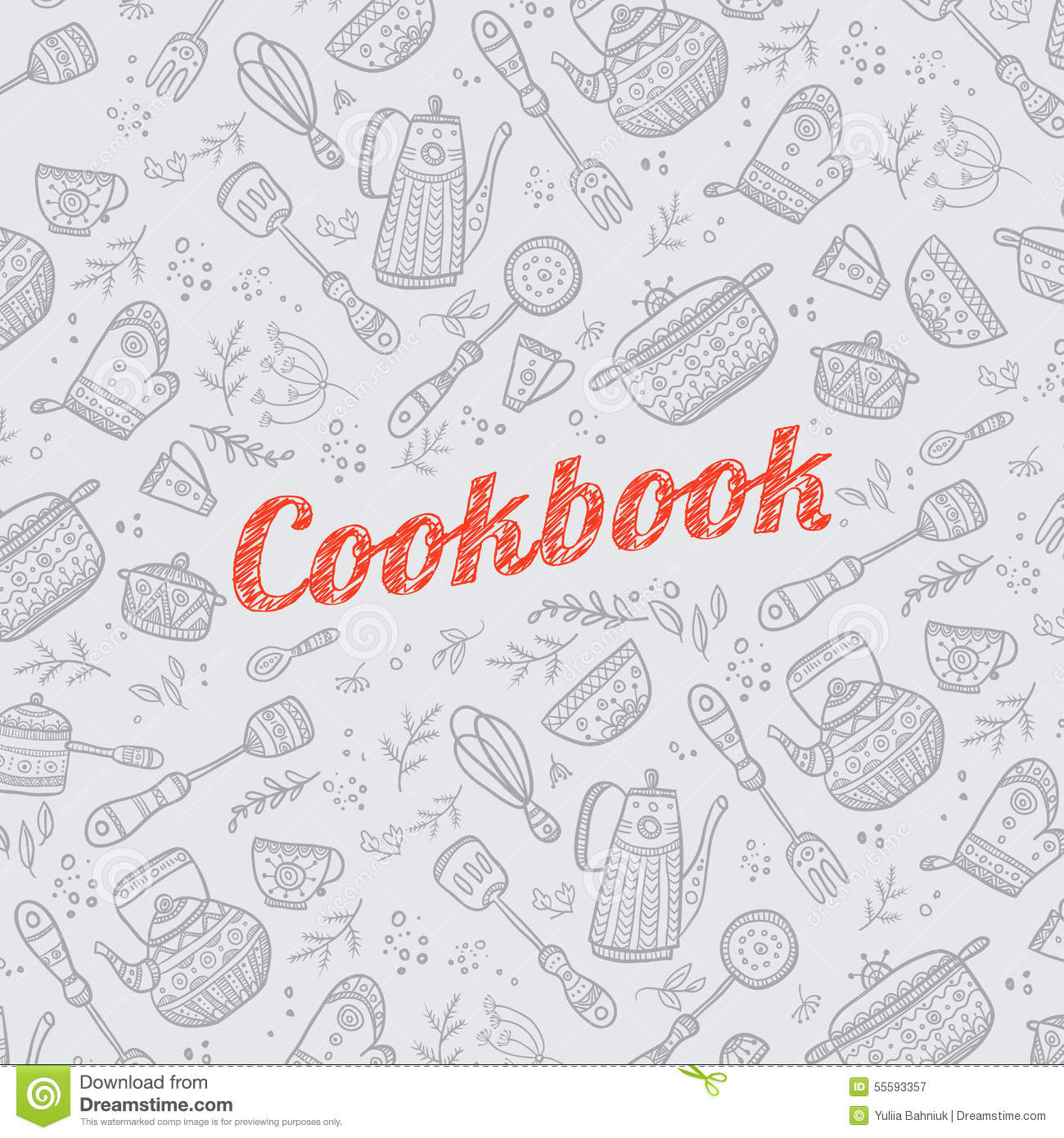 cookbook cover with kitchen items stock vector illustration of