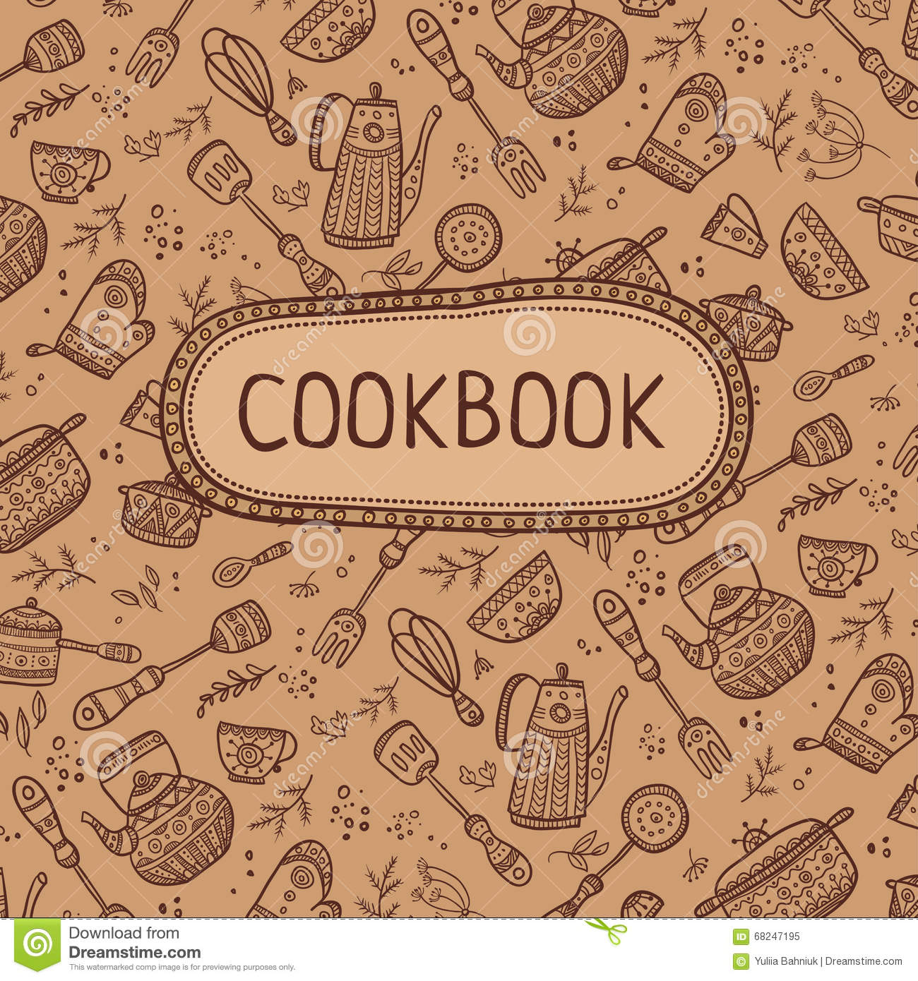 Cookbook Cover Layout : Cookbook cover with kitchen items stock vector