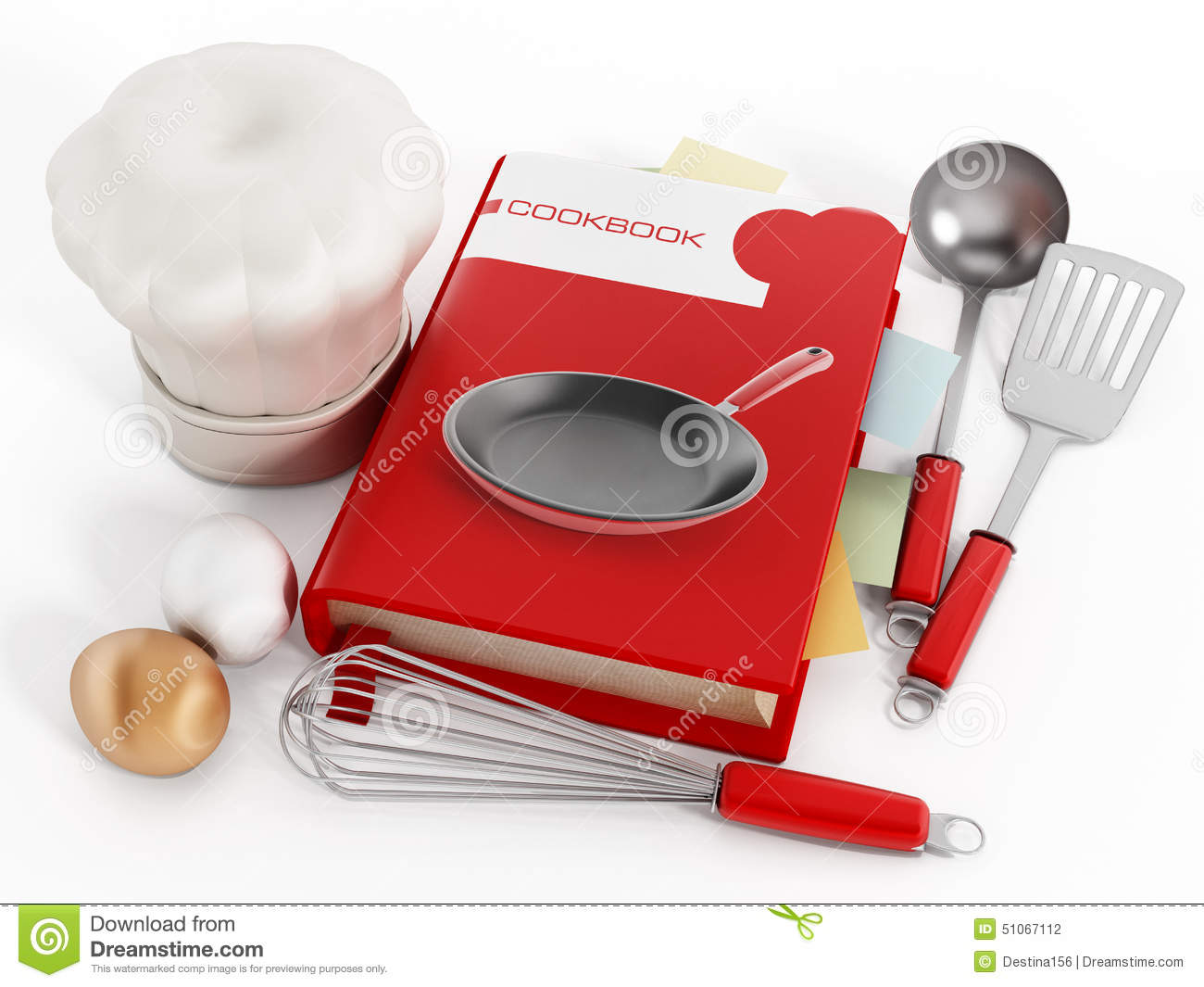 Cookbook And Kitchen Utensils On White Background