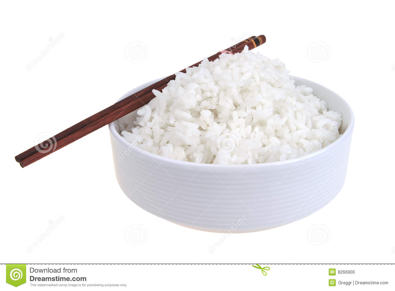 Cooked china rice and porcelain bowl