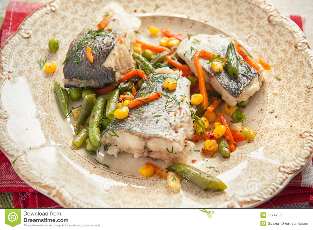 Cooked fish with vegetables stock photo image 53747866 for Fish with vegetables