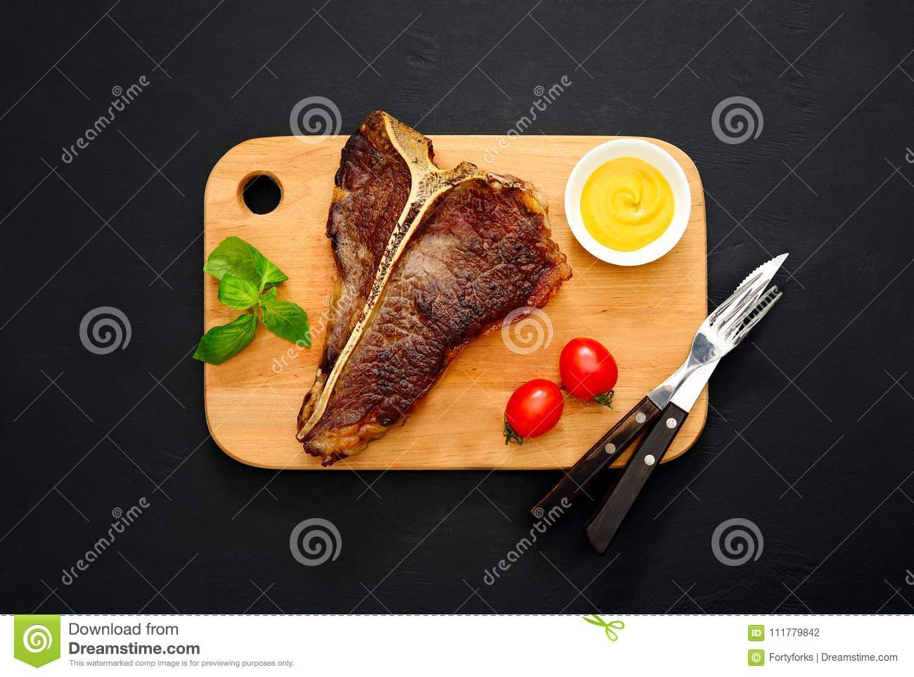 T-bone steak served and ready to eat