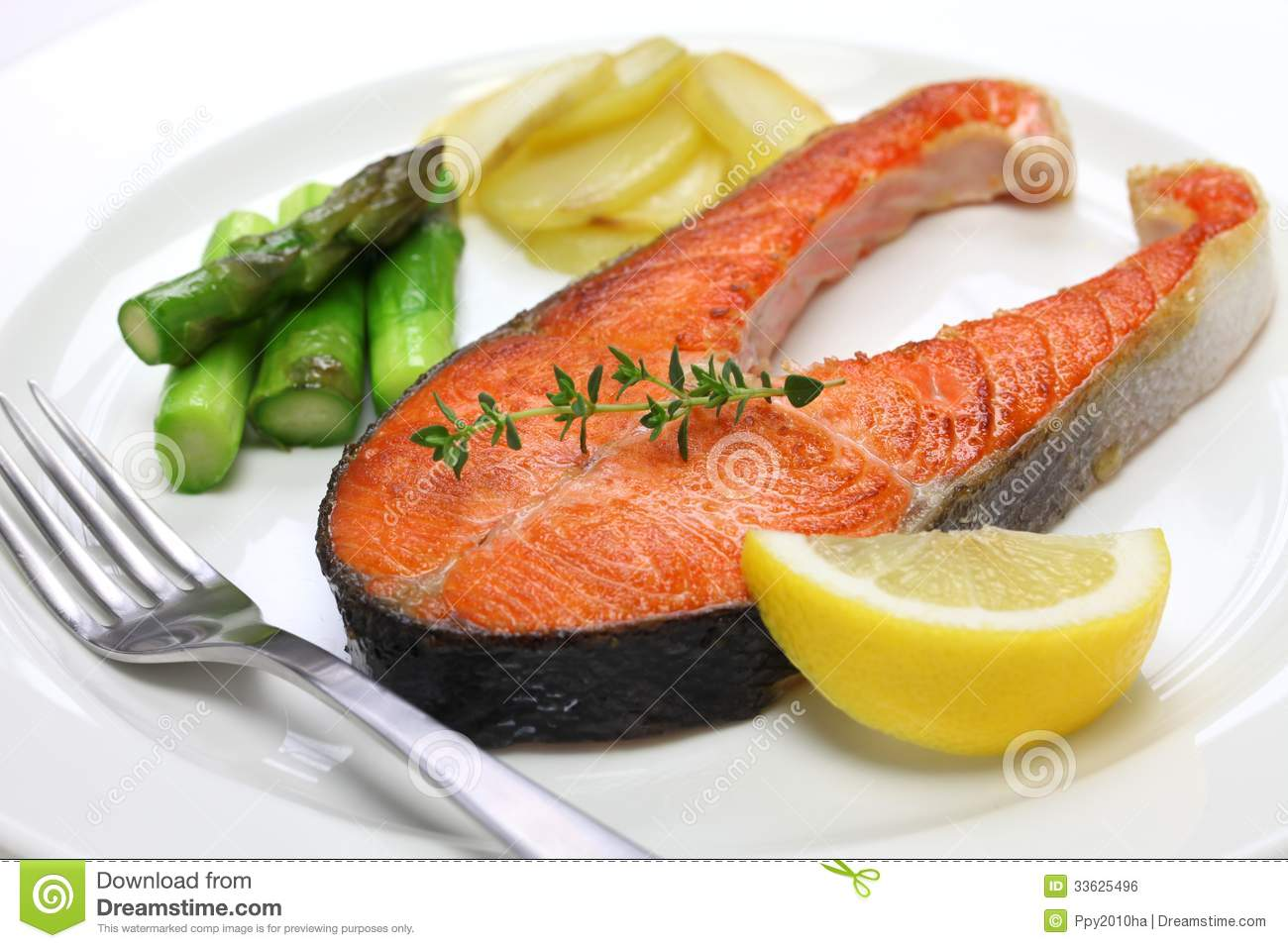 Cooked Salmon Steak Royalty Free Stock Image - Image: 33625496