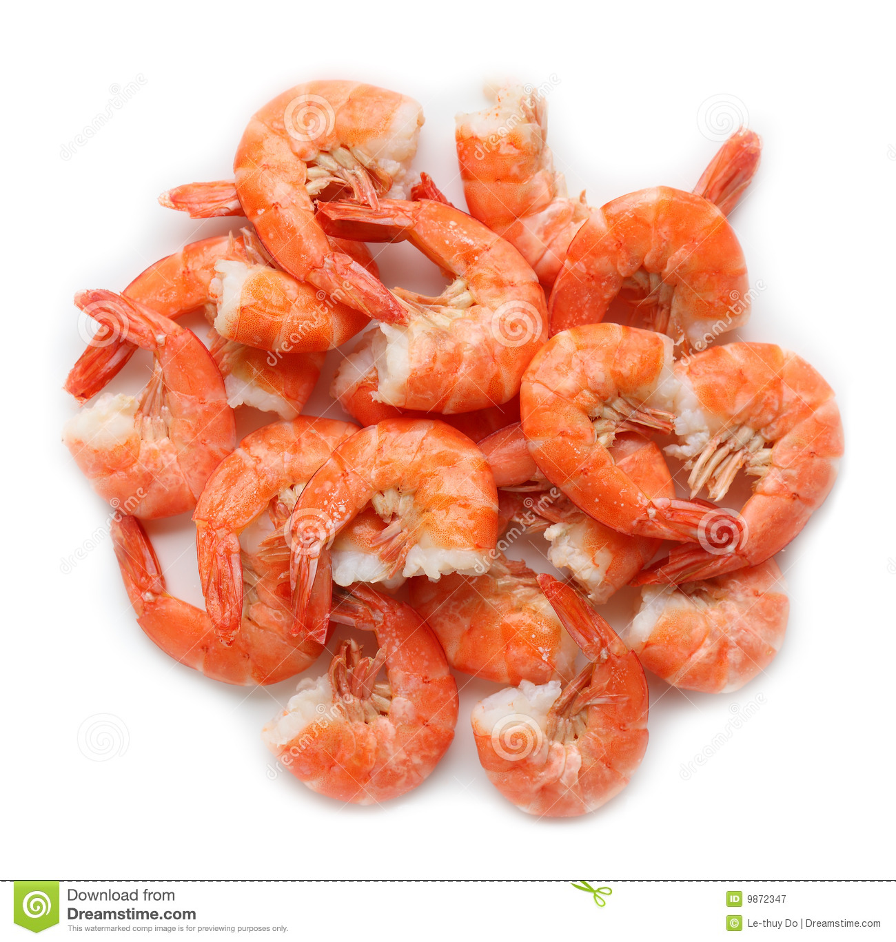Group of cooked shrimps isolated on white background.