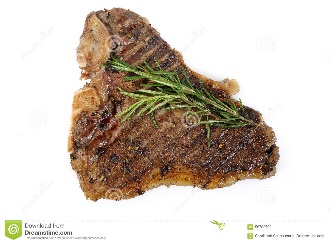 Cooked T-bone Steak On White Stock Photo - Image: 59782799