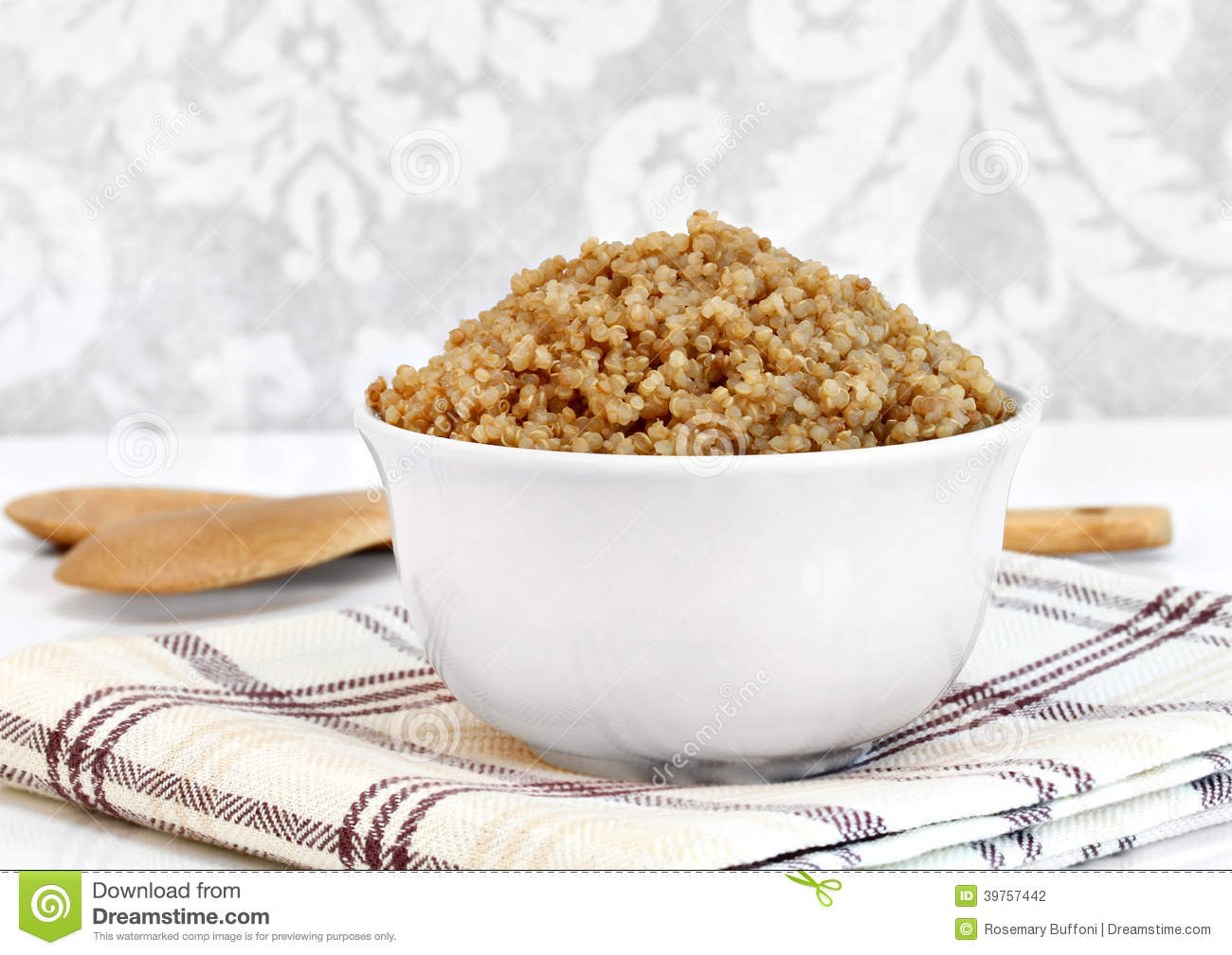 Cooked Whole Wheat Quinoa In A Bowl. Macro With Copy Space. Stock ...