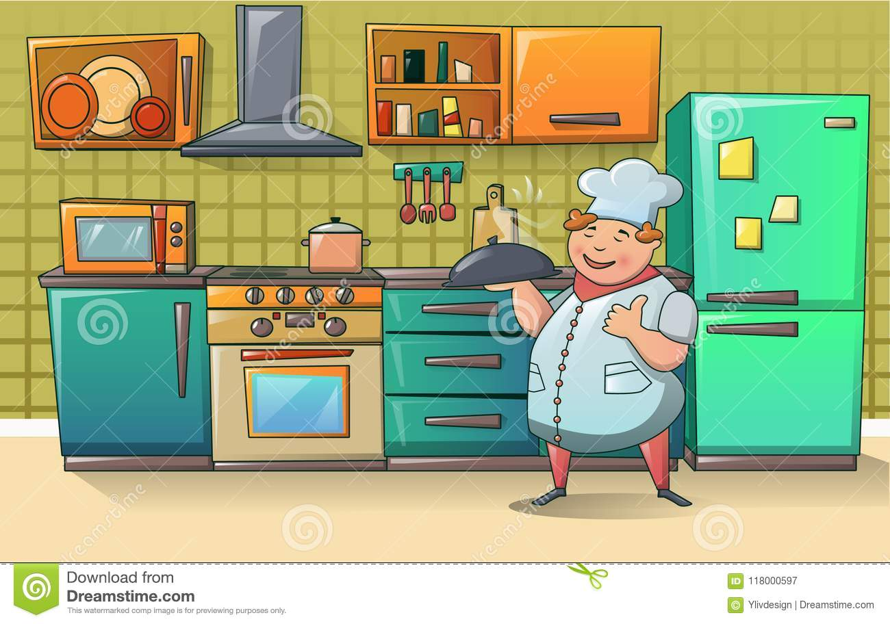 Cooker Chef Character Banner, Cartoon Style Stock Vector ...