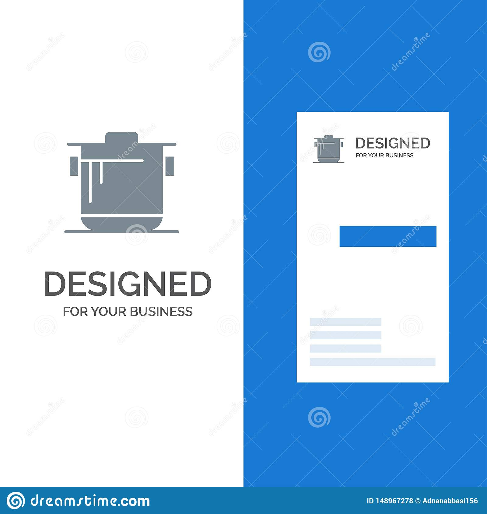 Cooker Kitchen Rice Cook Grey Logo Design And Business Card