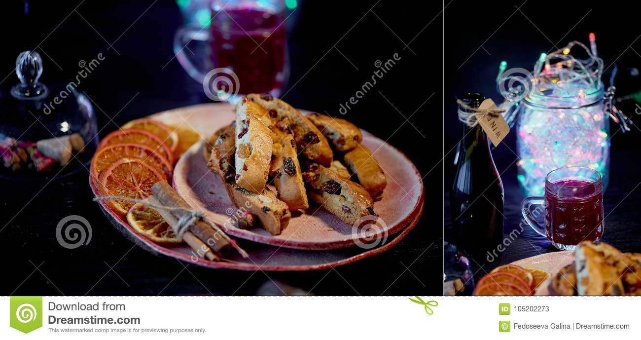 Cookie Biscotti On A Dark Background A Glass Of Red Wine Or Mulled
