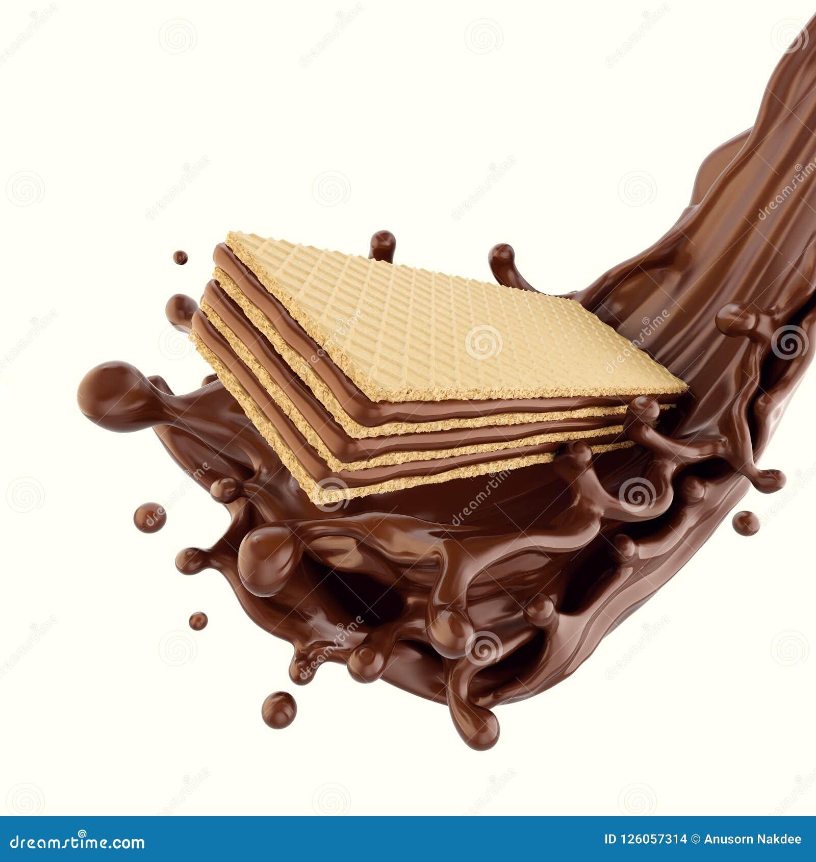 Cookie Chocolate wafer with chocolate syrup splashing.