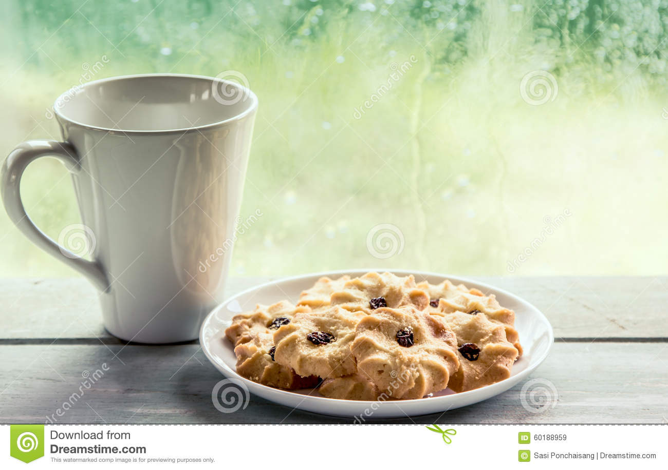 Cookie Coffee Cups Cookie And Coffee Cup On Rainy Day Window Background Stock Photo