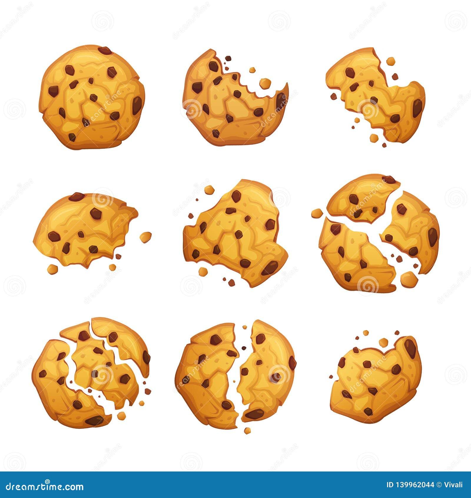 Cookie de farinha de aveia do vetor com as migalhas do chocolate isoladas no fundo branco Ilustração caseiro do vetor das cookies