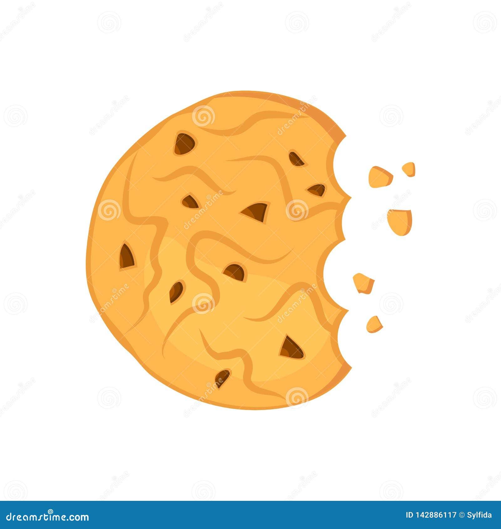 Cookie de farinha de aveia mordida do chocolate Ilustra??o do vetor