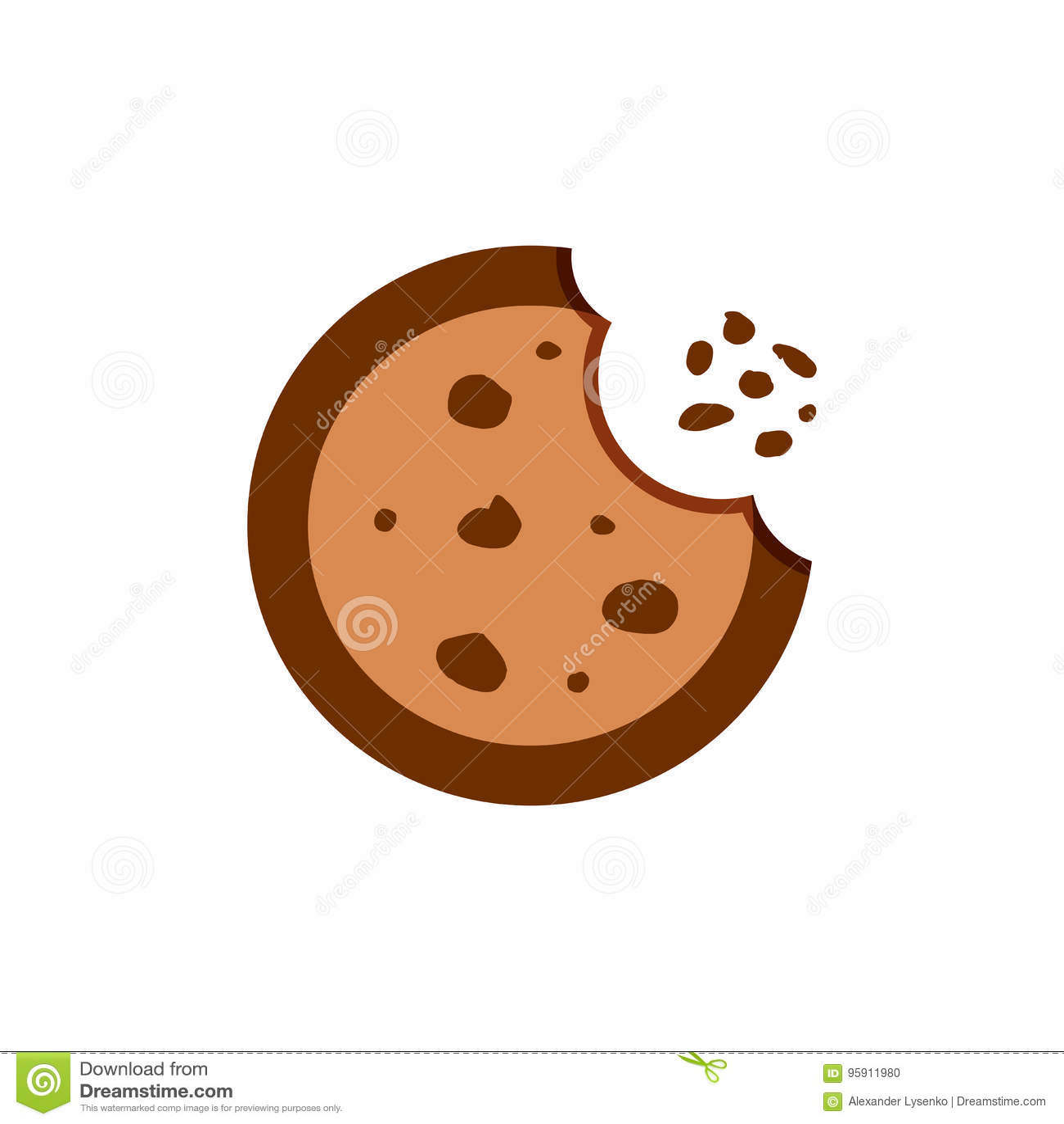 Cookie flat vector icon. Chip biscuit illustration. Dessert food