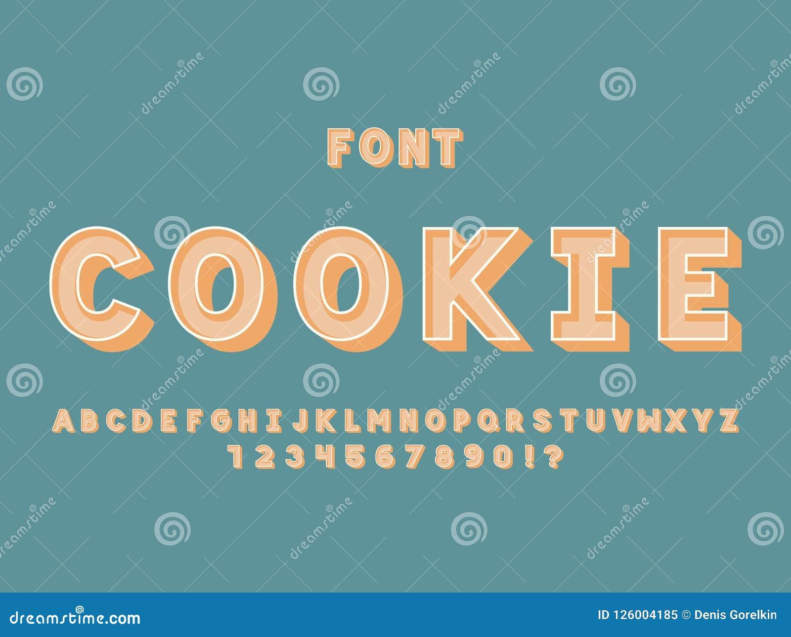 Cookie font. Vector alphabet