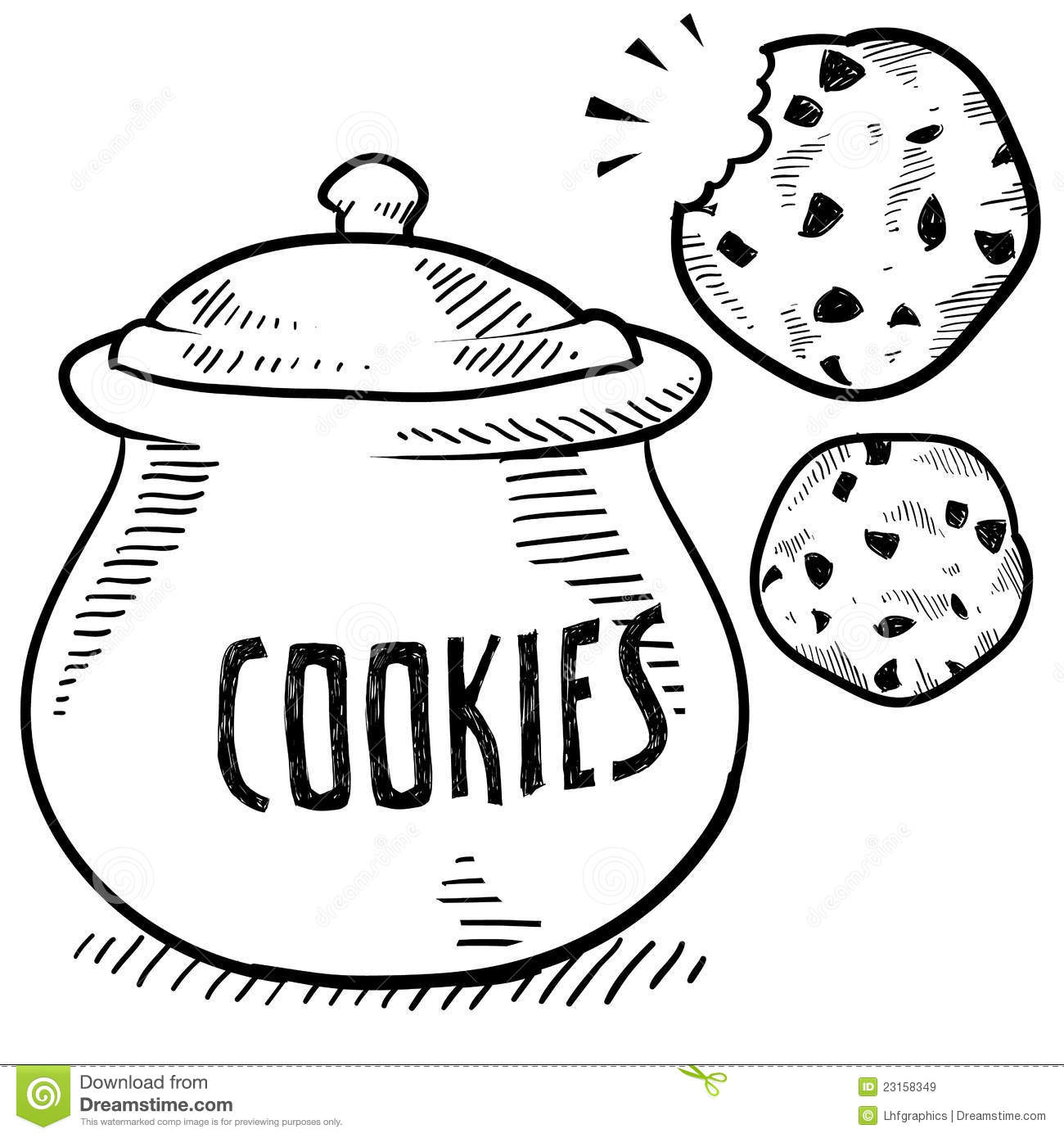 Doodle style cookie and cookie jar illustration in vector format.