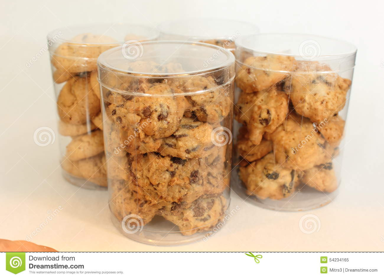 Cookie In Plastic Box , On White, Studio Shot. Stock Image