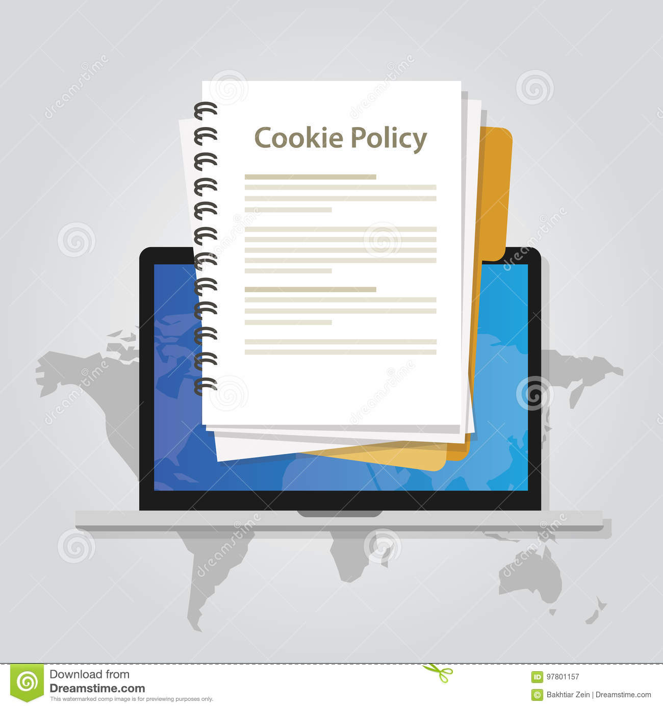 Cookie policy information privacy in website collecting data from visitor