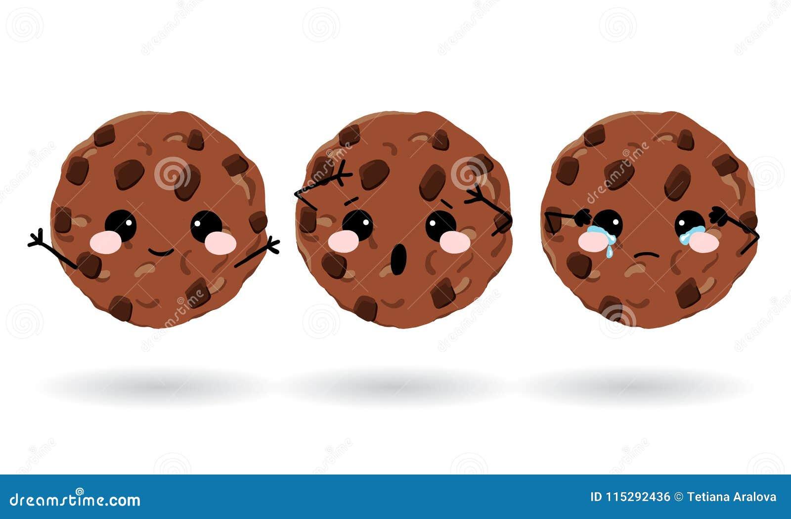 Cookies bonitos da aveia Grupo de ícones da emoção para o mensageiro, o bate-papo ou o mais Ilustração desenhada mão do vetor